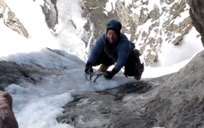 VIDEO: Watch This Ice Climber Nearly Slide Off a Ledge