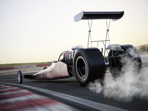 Dragster Flames Out Badly On Race Track, Twice