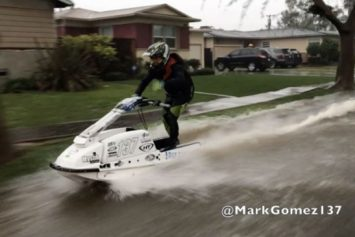 Watch This Jet Skier Take to Flooded SoCal Streets