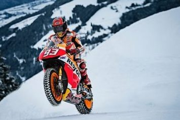 Motorcycle on Ski Slopes Because 'Why Not?'